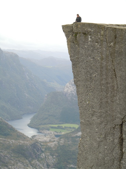 At the top of Prikestolen in Stavanger, Norway