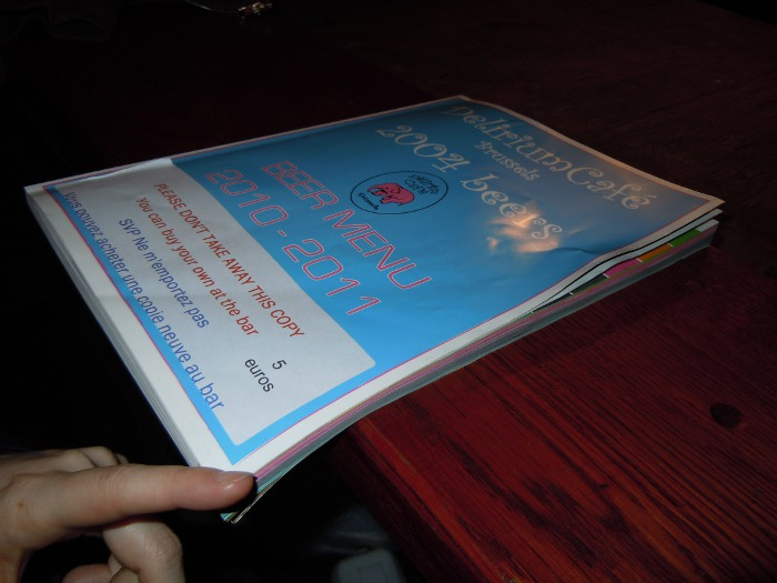 Delirium Cafe Menu, 2004 beer