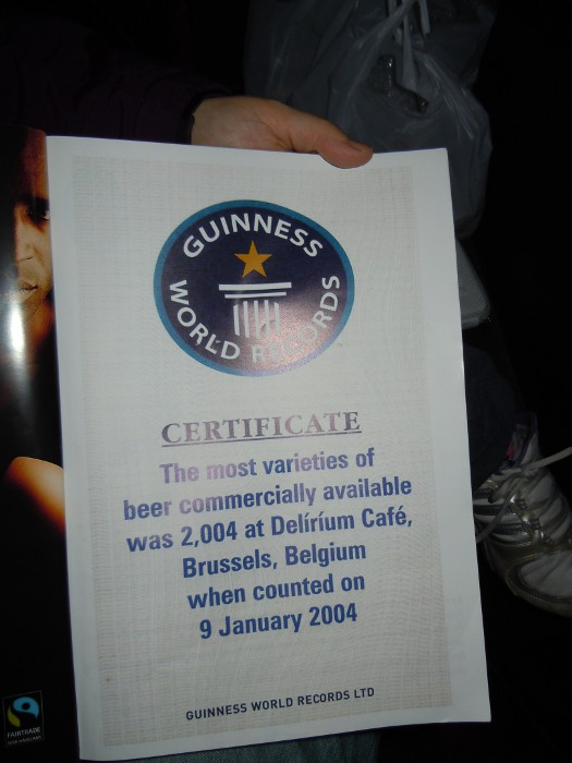 Delirium Cafe menu, World Guinness Record